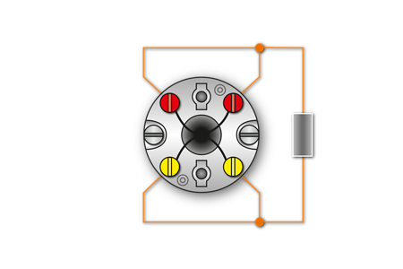 Fig. 3: 1xPt100/4-Conductor circuit - Marking: red/yellow
